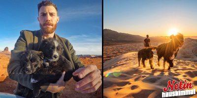 Mies löysi kaksi hylättyä koiranpentua – Lähti kiertämään maailmaa niiden kanssa!