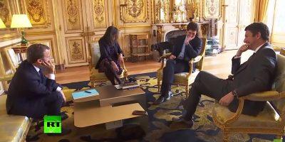 Ranskan presidentin koira pissasi takkaan tapaamisen aikana – viraali video!