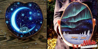 Uskomattoman kauniit metsäaiheiset maalaukset! – Maalattu puunpalaan!