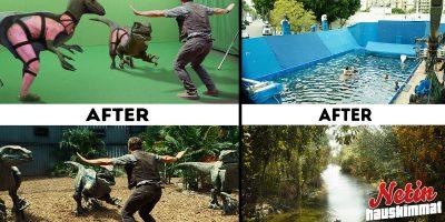 Elokuvan taikaa! – Kuvat ennen ja jälkeen erikoistehosteiden!
