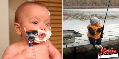 Kun isä kasvattaa poikaansa – Parranajoa ja auton korjaamista jo vauvana!