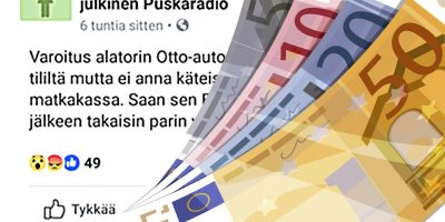 Facebookmokat: Pankkiautomaatti vie rahat!
