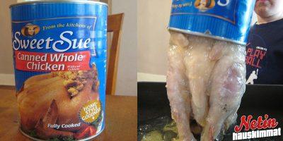 Kokonainen kana säilykepurkissa! – Näyttääkö herkulliselta?