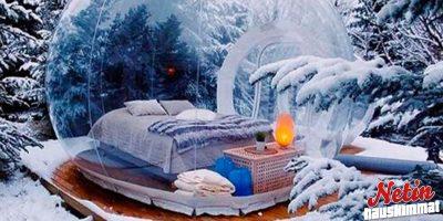 Onko kyseessä upein hotellihuone koskaan? – Kupla keskellä lumista metsää!